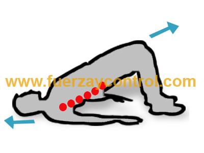 Movilidad de zona lumbar de columna tumbado boca arriba