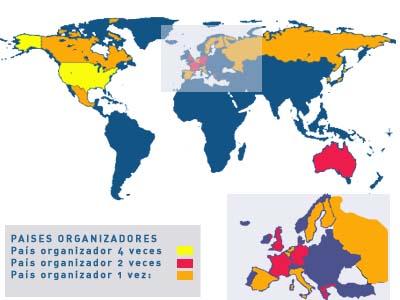 mapa del mundo paises. mapa paises organizadores