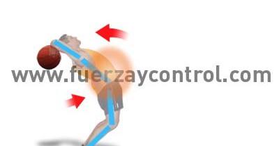 Arqueamiento de la espalda en el lanzamiento de balón medicinal