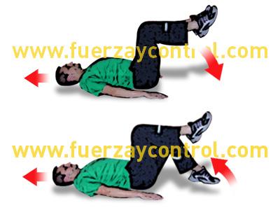 Ejercicio de fortalecimiento de abdominales tumbado boca arriba