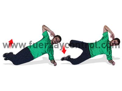 Elevación lateral de pierna flexionada en apoyo lateral