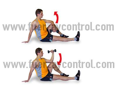 Fortalecimiento de rotadores externos del hombro con mancuerna