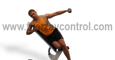 Abducción de brazo con mancuerna, movimiento del plano frontal