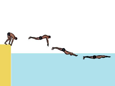 Movimiento de salida desde fuera del agua para pruebas de natación