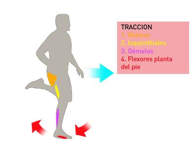 Tracción del pie en el suelo al correr