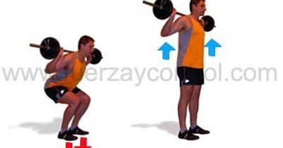 El ejercicio de sentadilla y la presión contra el suelo