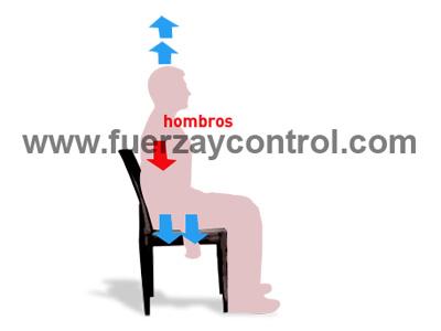 La descarga de los hombros al sentarse