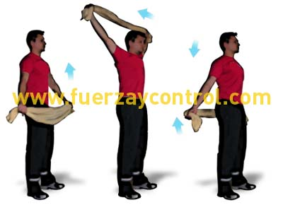 Movilidad de hombros: Circunducción de brazos sujetando una toalla