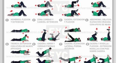 Tabla de ejercicios de suelo para fortalecimiento general nivel basico