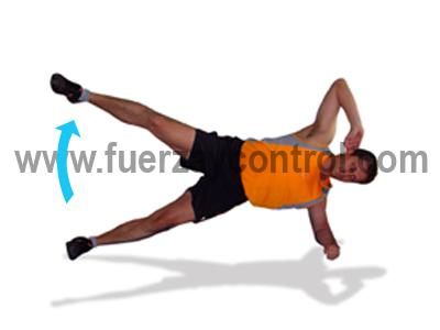 Ejercicio de abductores de cadera: Elevación de pierna en fondo lateral