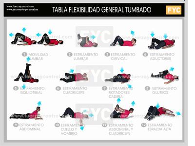 Entrenamiento de flexibilidad: Tabla de ejercicios de flexibilidad tumbado