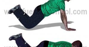 flexión de brazos con rodillas apoyadas