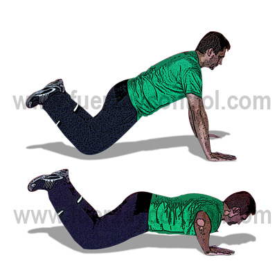 Flexión de brazos con rodillas apoyadas: Utilidades y ejecución